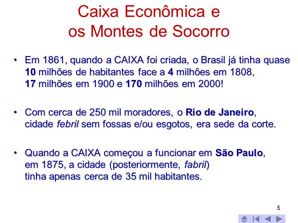 5 Caixa Econômica e os Montes de Socorro Em 1861, quando a CAIXA foi criada, o Brasil já tinha quase 10 milhões de habitantes face a 4 milhões em 1808