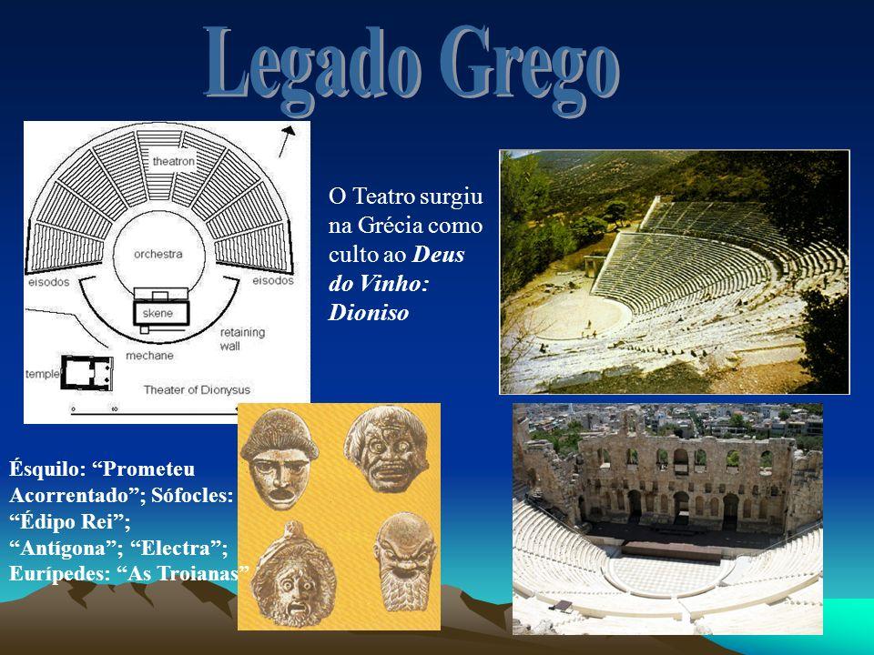 O Teatro surgiu na Grécia como culto ao Deus do Vinho: Dioniso Ésquilo: Prometeu Acorrentado; Sófocles: Édipo Rei; Antígona; Electra; Eurípedes: As Tr