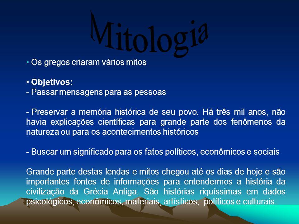 Os gregos criaram vários mitos Objetivos: - Passar mensagens para as pessoas - Preservar a memória histórica de seu povo. Há três mil anos, não havia