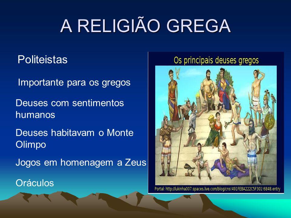 A RELIGIÃO GREGA Politeistas Importante para os gregos Deuses com sentimentos humanos Deuses habitavam o Monte Olimpo Jogos em homenagem a Zeus Orácul