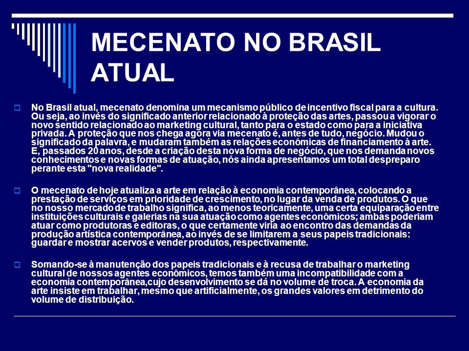 MECENATO NO BRASIL ATUAL No Brasil atual, mecenato denomina um mecanismo público de incentivo fiscal para a cultura. Ou seja, ao invés do significado