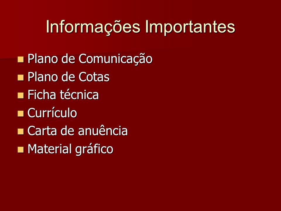 Informações Importantes Plano de Comunicação Plano de Comunicação Plano de Cotas Plano de Cotas Ficha técnica Ficha técnica Currículo Currículo Carta