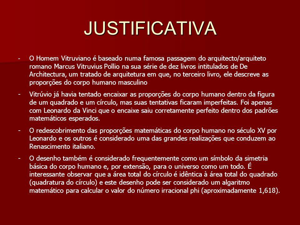 JUSTIFICATIVA - O Homem Vitruviano é baseado numa famosa passagem do arquitecto/arquiteto romano Marcus Vitruvius Pollio na sua série de dez livros in