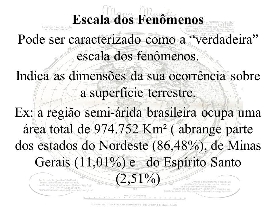 Escala dos Fenômenos Pode ser caracterizado como a verdadeira escala dos fenômenos. Indica as dimensões da sua ocorrência sobre a superfície terrestre