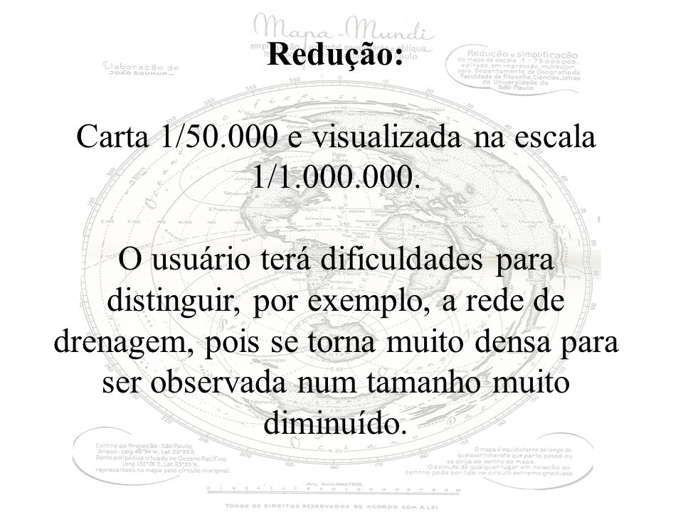 Redução: Carta 1/50.000 e visualizada na escala 1/1.000.000. O usuário terá dificuldades para distinguir, por exemplo, a rede de drenagem, pois se tor