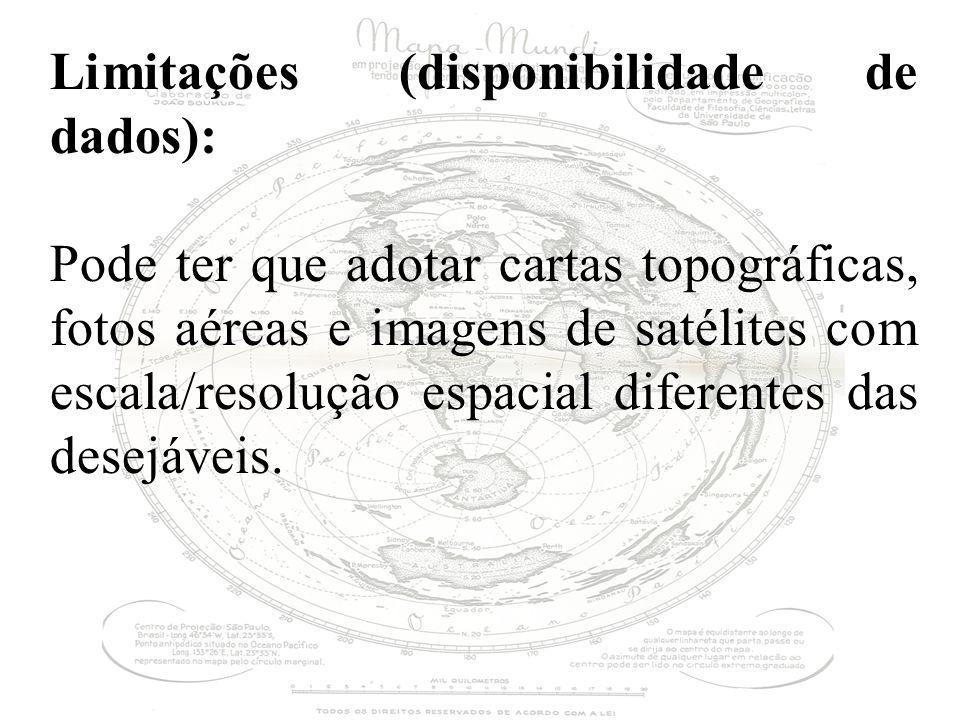 Limitações (disponibilidade de dados): Pode ter que adotar cartas topográficas, fotos aéreas e imagens de satélites com escala/resolução espacial diferentes das desejáveis.
