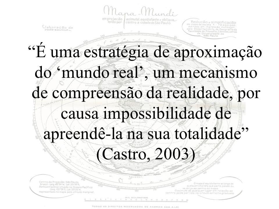 É uma estratégia de aproximação do mundo real, um mecanismo de compreensão da realidade, por causa impossibilidade de apreendê-la na sua totalidade (Castro, 2003)