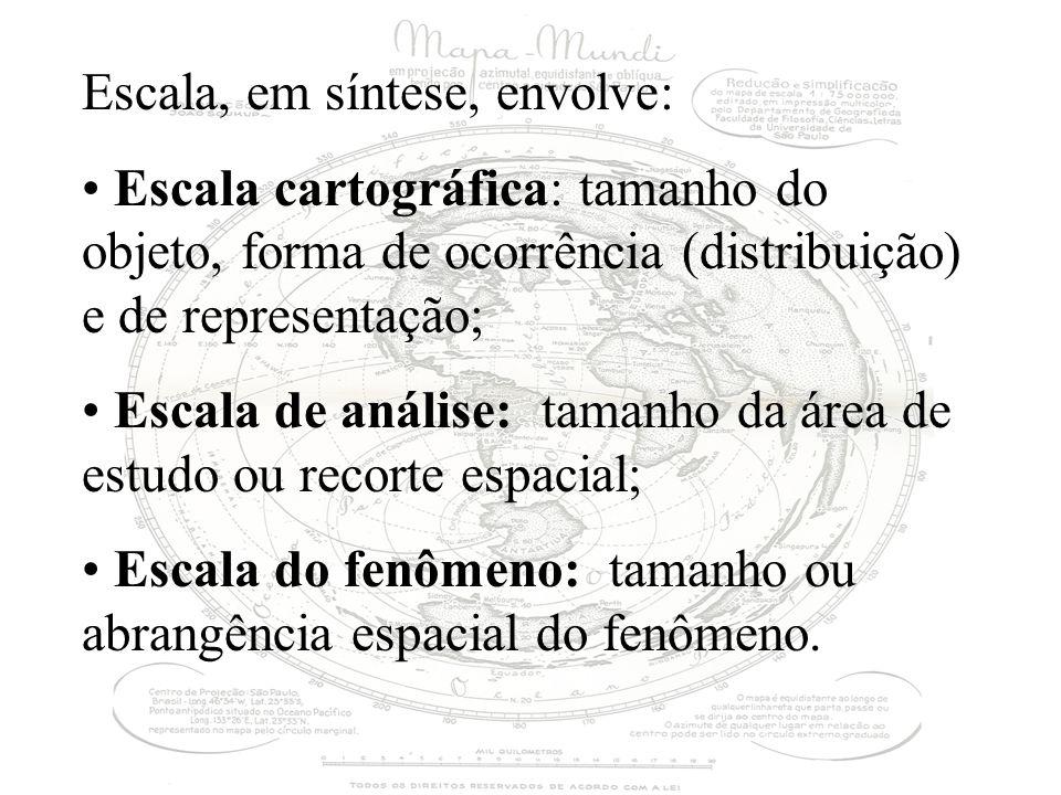 Escala, em síntese, envolve: Escala cartográfica: tamanho do objeto, forma de ocorrência (distribuição) e de representação; Escala de análise: tamanho