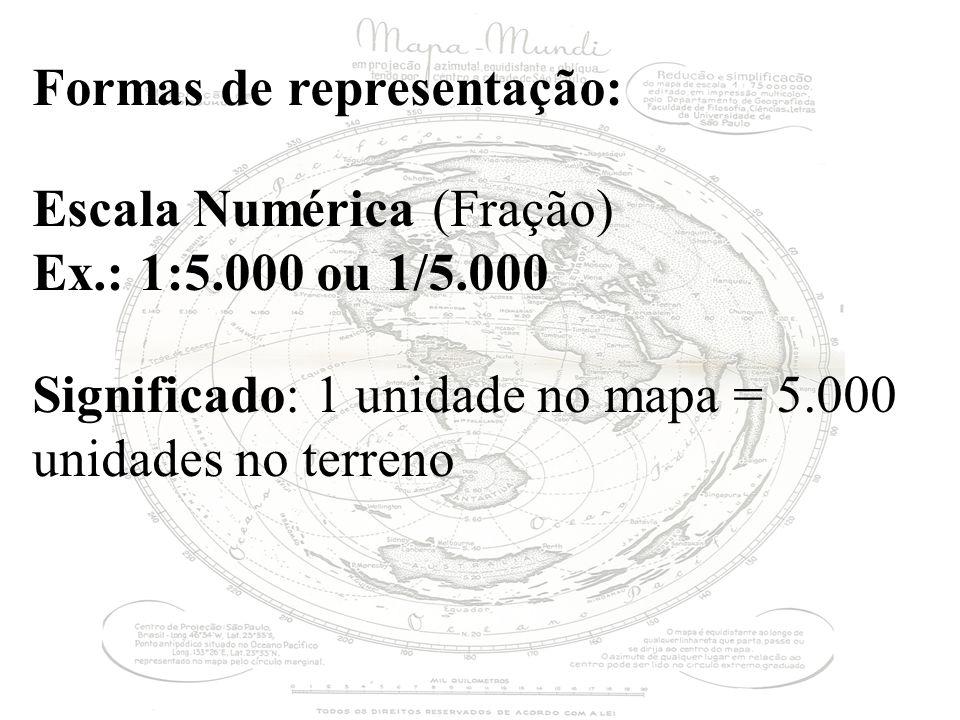 Formas de representação: Escala Numérica (Fração) Ex.: 1:5.000 ou 1/5.000 Significado: 1 unidade no mapa = 5.000 unidades no terreno