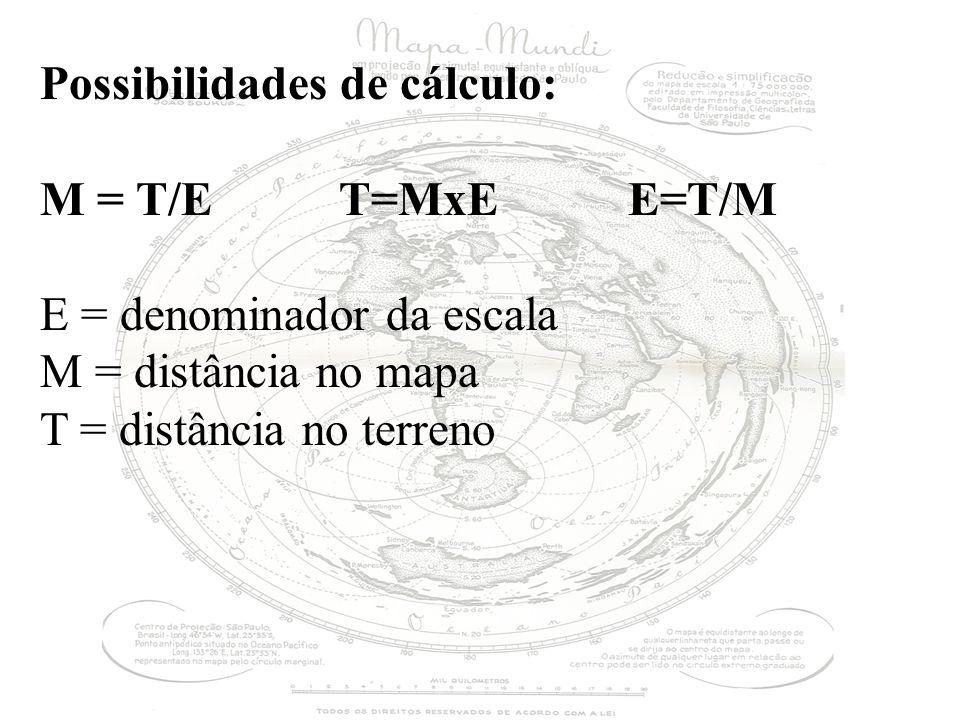 Possibilidades de cálculo: M = T/E T=MxE E=T/M E = denominador da escala M = distância no mapa T = distância no terreno