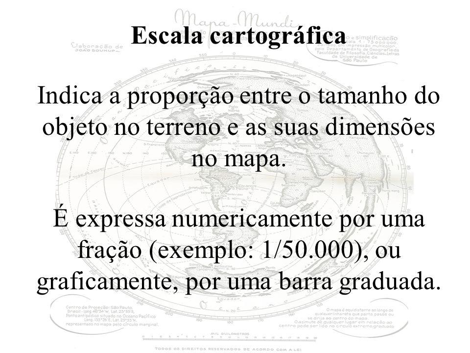 Escala cartográfica Indica a proporção entre o tamanho do objeto no terreno e as suas dimensões no mapa. É expressa numericamente por uma fração (exem