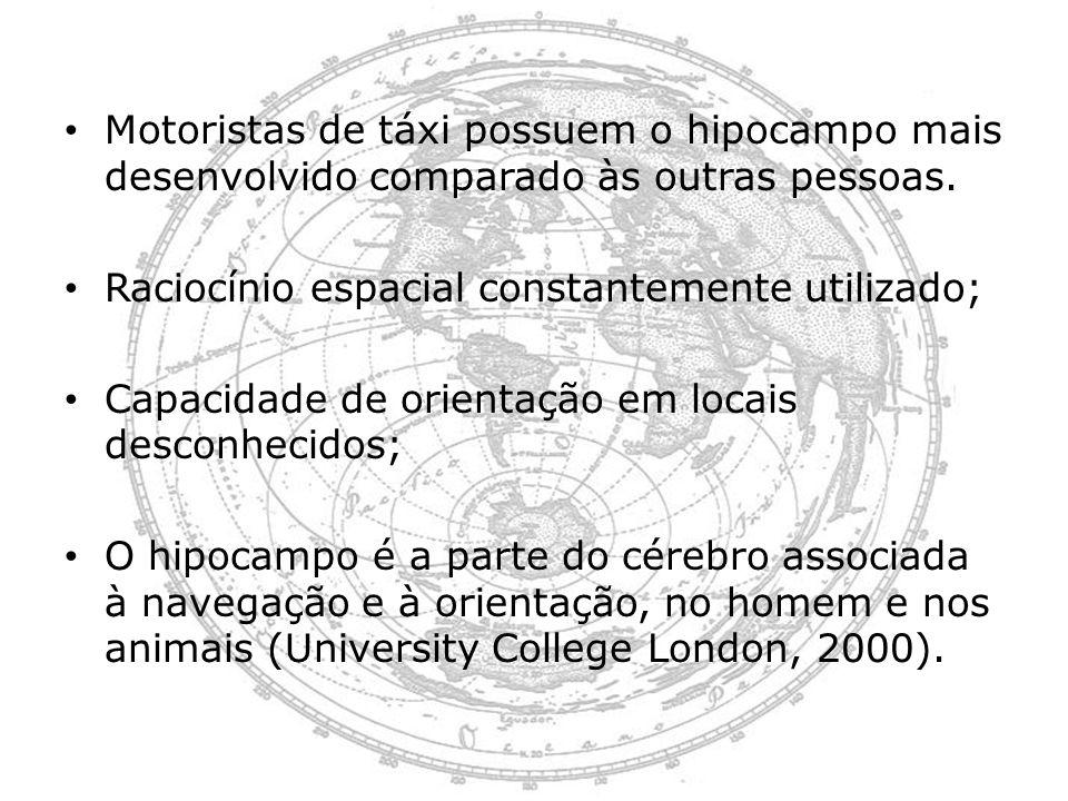 Motoristas de táxi possuem o hipocampo mais desenvolvido comparado às outras pessoas. Raciocínio espacial constantemente utilizado; Capacidade de orie