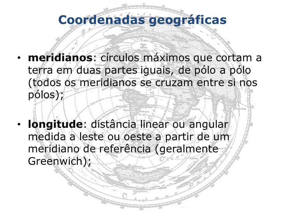 Coordenadas geográficas meridianos: círculos máximos que cortam a terra em duas partes iguais, de pólo a pólo (todos os meridianos se cruzam entre si