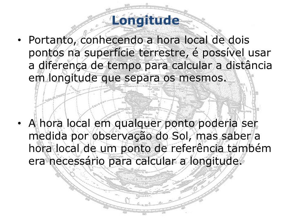 Longitude Portanto, conhecendo a hora local de dois pontos na superfície terrestre, é possível usar a diferença de tempo para calcular a distância em