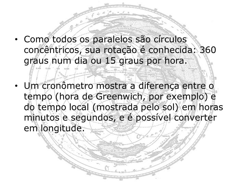 Como todos os paralelos são círculos concêntricos, sua rotação é conhecida: 360 graus num dia ou 15 graus por hora. Um cronômetro mostra a diferença e