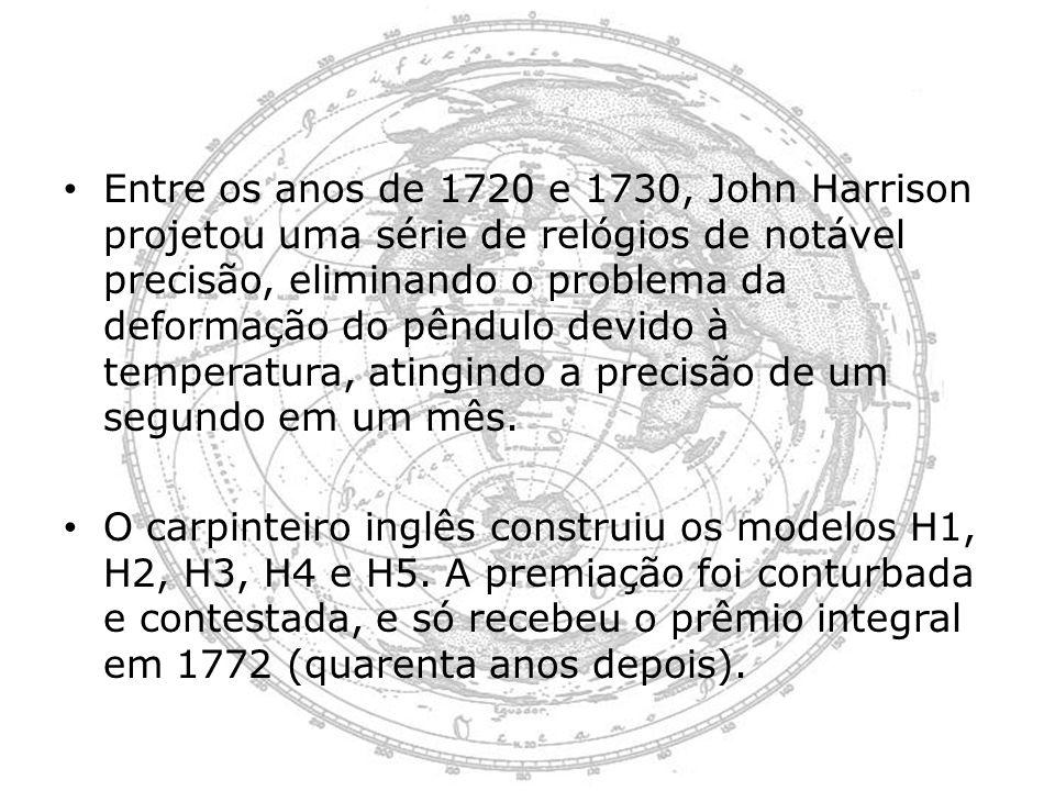 Entre os anos de 1720 e 1730, John Harrison projetou uma série de relógios de notável precisão, eliminando o problema da deformação do pêndulo devido