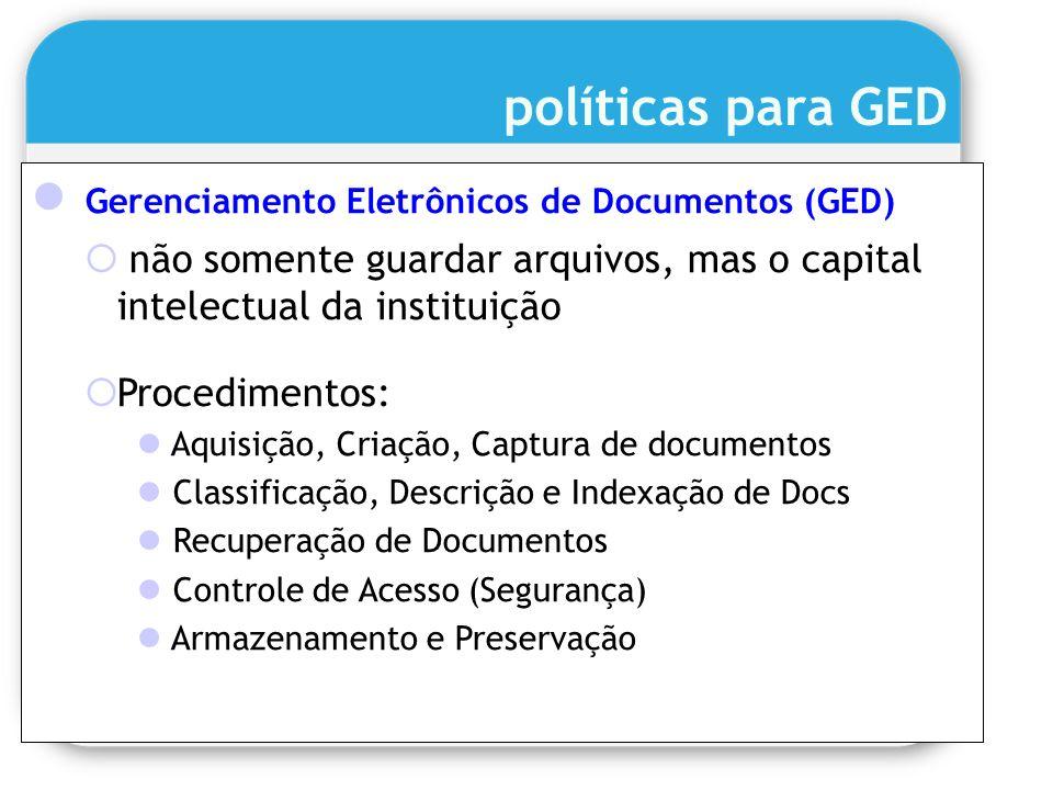 políticas para GED Gerenciamento Eletrônicos de Documentos (GED) não somente guardar arquivos, mas o capital intelectual da instituição Procedimentos: