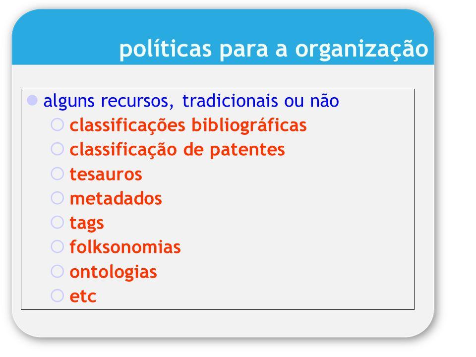 políticas para a organização alguns recursos, tradicionais ou não classificações bibliográficas classificação de patentes tesauros metadados tags folk