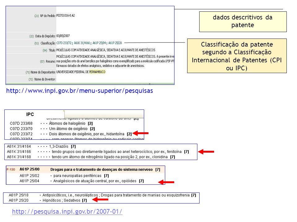 http://pesquisa.inpi.gov.br/2007-01/ http://www.inpi.gov.br/menu-superior/pesquisas dados descritivos da patente Classificação da patente segundo a Cl