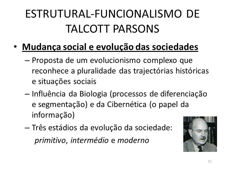 ESTRUTURAL-FUNCIONALISMO DE TALCOTT PARSONS Mudança social e evolução das sociedades – Proposta de um evolucionismo complexo que reconhece a pluralida