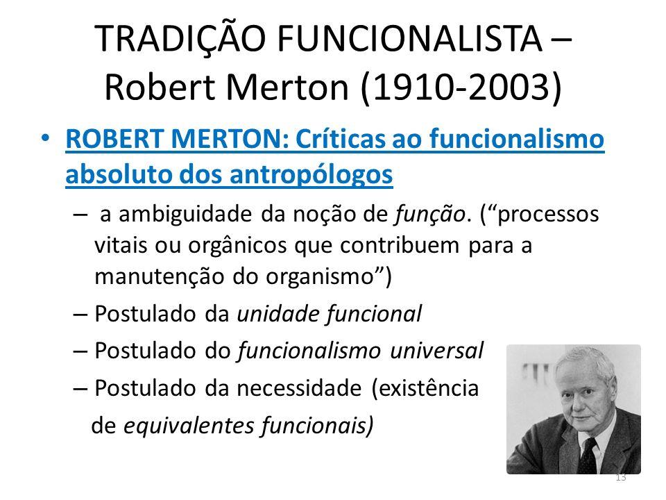 TRADIÇÃO FUNCIONALISTA – Robert Merton (1910-2003) ROBERT MERTON: Críticas ao funcionalismo absoluto dos antropólogos – a ambiguidade da noção de funç