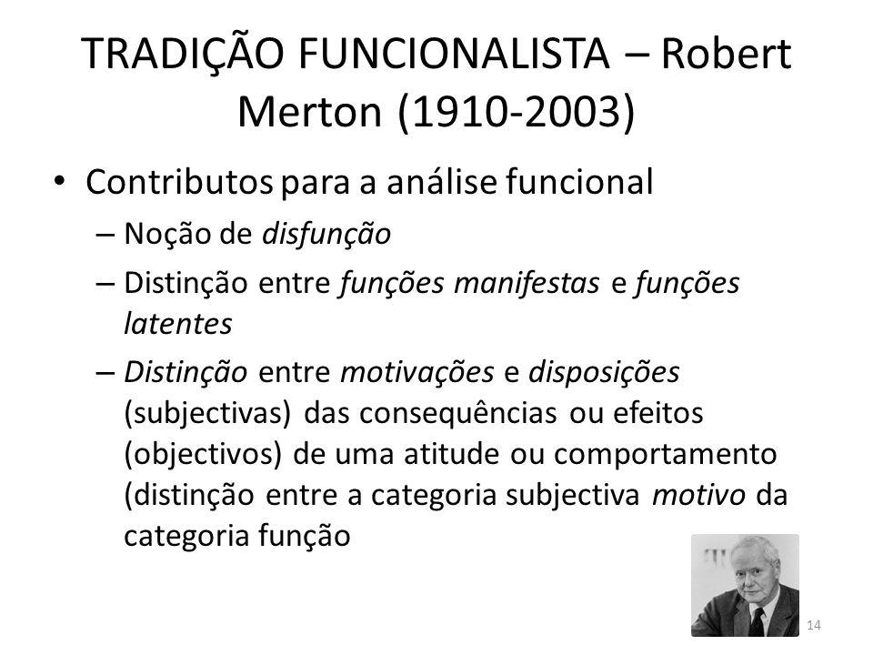 TRADIÇÃO FUNCIONALISTA – Robert Merton (1910-2003) Contributos para a análise funcional – Noção de disfunção – Distinção entre funções manifestas e fu