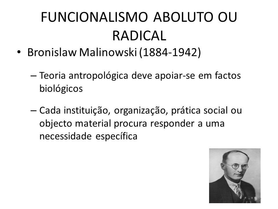 FUNCIONALISMO ABOLUTO OU RADICAL Bronislaw Malinowski (1884-1942) – Teoria antropológica deve apoiar-se em factos biológicos – Cada instituição, organ