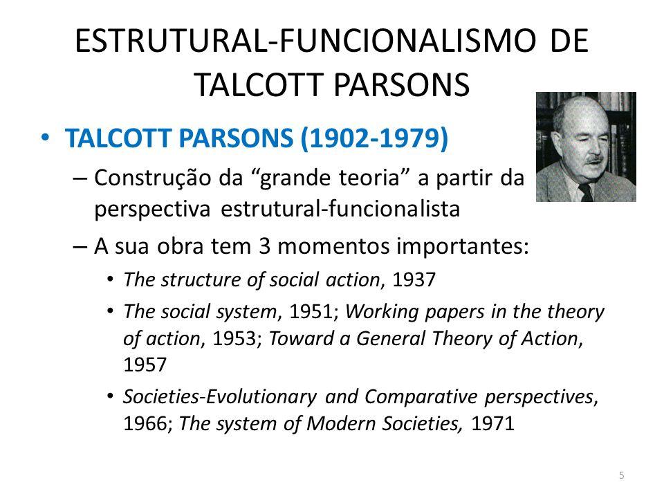 ESTRUTURAL-FUNCIONALISMO DE TALCOTT PARSONS TALCOTT PARSONS (1902-1979) – Construção da grande teoria a partir da perspectiva estrutural-funcionalista