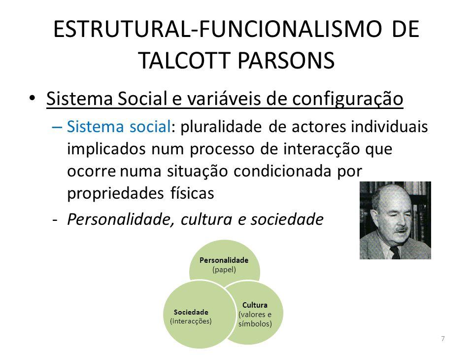 ESTRUTURAL-FUNCIONALISMO DE TALCOTT PARSONS Sistema Social e variáveis de configuração – Sistema social: pluralidade de actores individuais implicados
