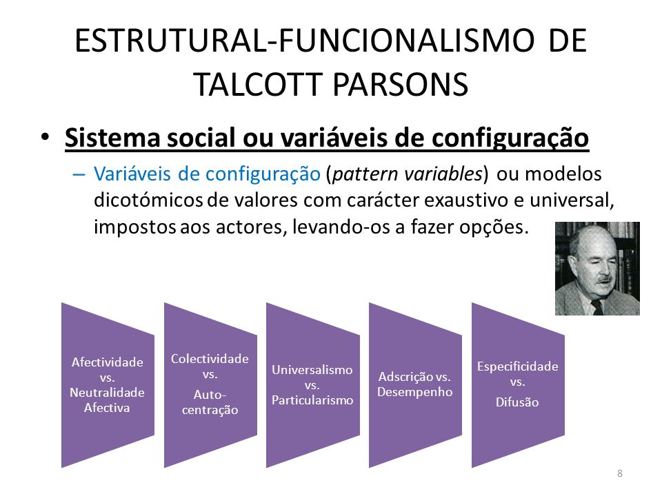 ESTRUTURAL-FUNCIONALISMO DE TALCOTT PARSONS Sistema social ou variáveis de configuração – Variáveis de configuração (pattern variables) ou modelos dic