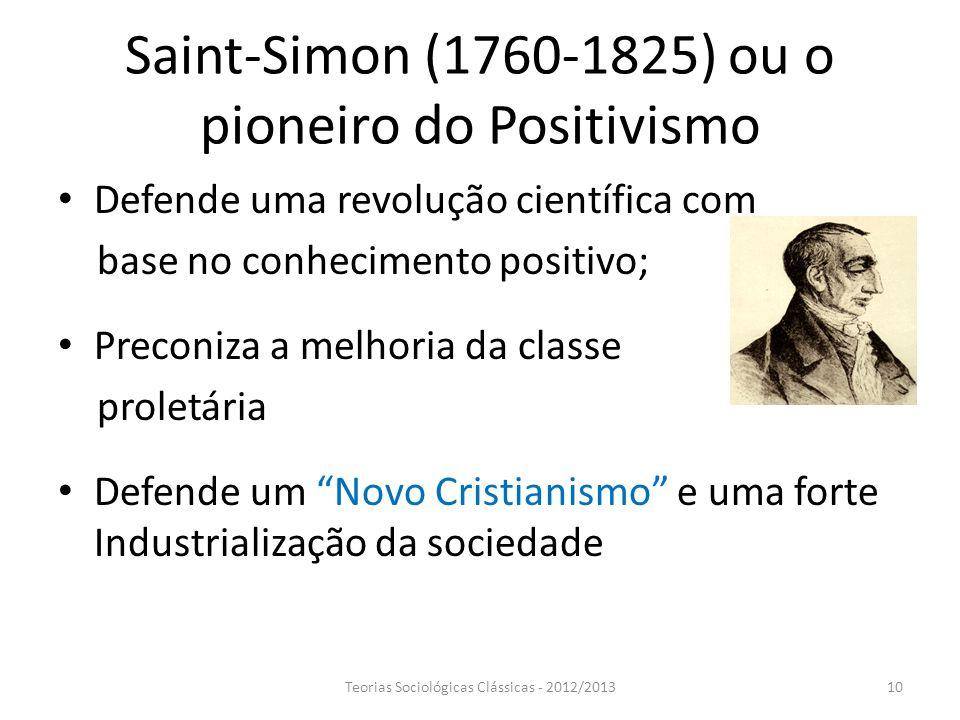 Saint-Simon (1760-1825) ou o pioneiro do Positivismo Defende uma revolução científica com base no conhecimento positivo; Preconiza a melhoria da class