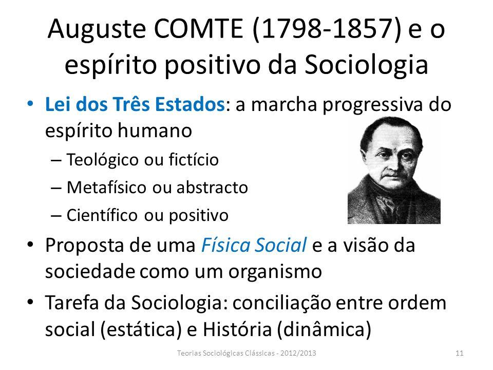 Auguste COMTE (1798-1857) e o espírito positivo da Sociologia Lei dos Três Estados: a marcha progressiva do espírito humano – Teológico ou fictício –