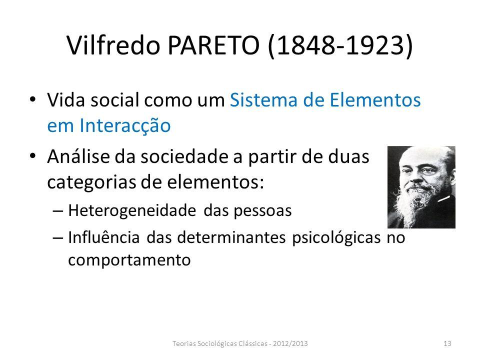 Vilfredo PARETO (1848-1923) Vida social como um Sistema de Elementos em Interacção Análise da sociedade a partir de duas categorias de elementos: – He