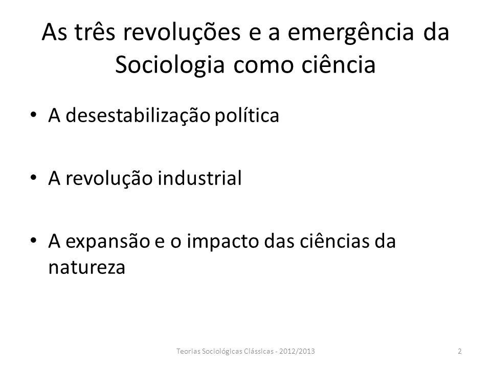 As três revoluções e a emergência da Sociologia como ciência A desestabilização política A revolução industrial A expansão e o impacto das ciências da