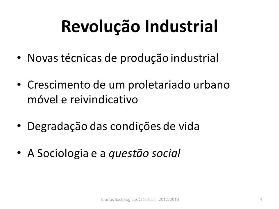 Revolução Industrial Novas técnicas de produção industrial Crescimento de um proletariado urbano móvel e reivindicativo Degradação das condições de vi