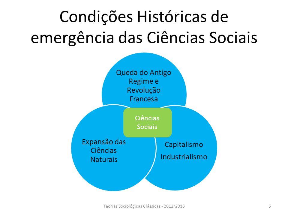 Condições Históricas de emergência das Ciências Sociais Queda do Antigo Regime e Revolução Francesa Capitalismo Industrialismo Expansão das Ciências N