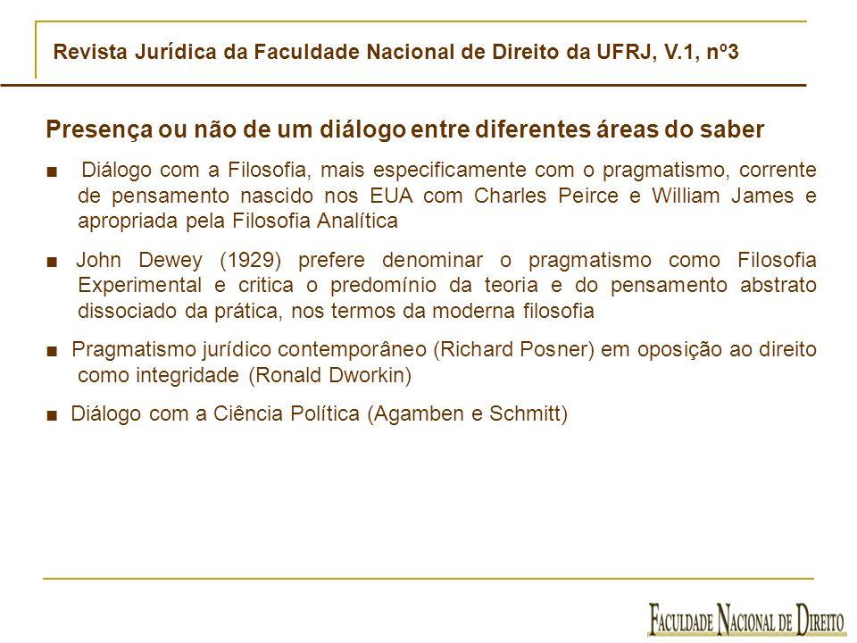 Revista Jurídica da Faculdade Nacional de Direito da UFRJ, V.1, nº3 Presença ou não de um diálogo entre diferentes áreas do saber Diálogo com a Filoso