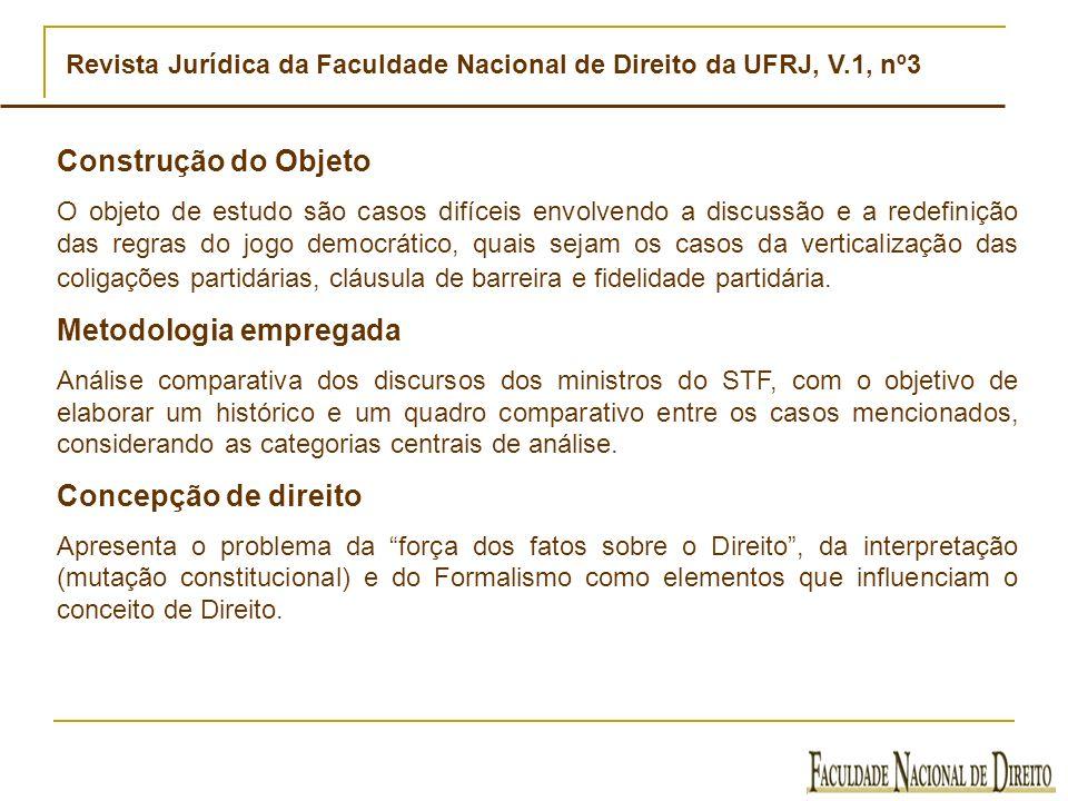 Revista Jurídica da Faculdade Nacional de Direito da UFRJ, V.1, nº3 Construção do Objeto O objeto de estudo são casos difíceis envolvendo a discussão