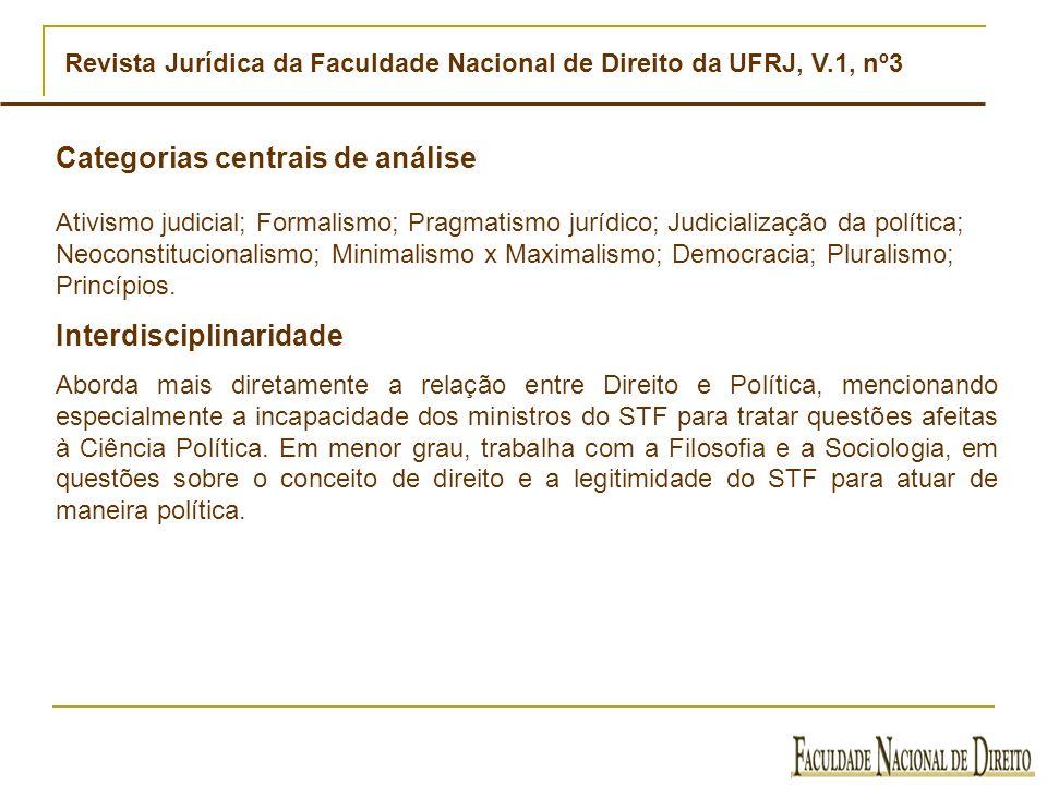 Revista Jurídica da Faculdade Nacional de Direito da UFRJ, V.1, nº3 Categorias centrais de análise Ativismo judicial; Formalismo; Pragmatismo jurídico