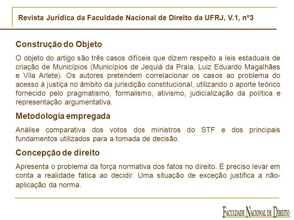 Revista Jurídica da Faculdade Nacional de Direito da UFRJ, V.1, nº3 Construção do Objeto O objeto do artigo são três casos difíceis que dizem respeito