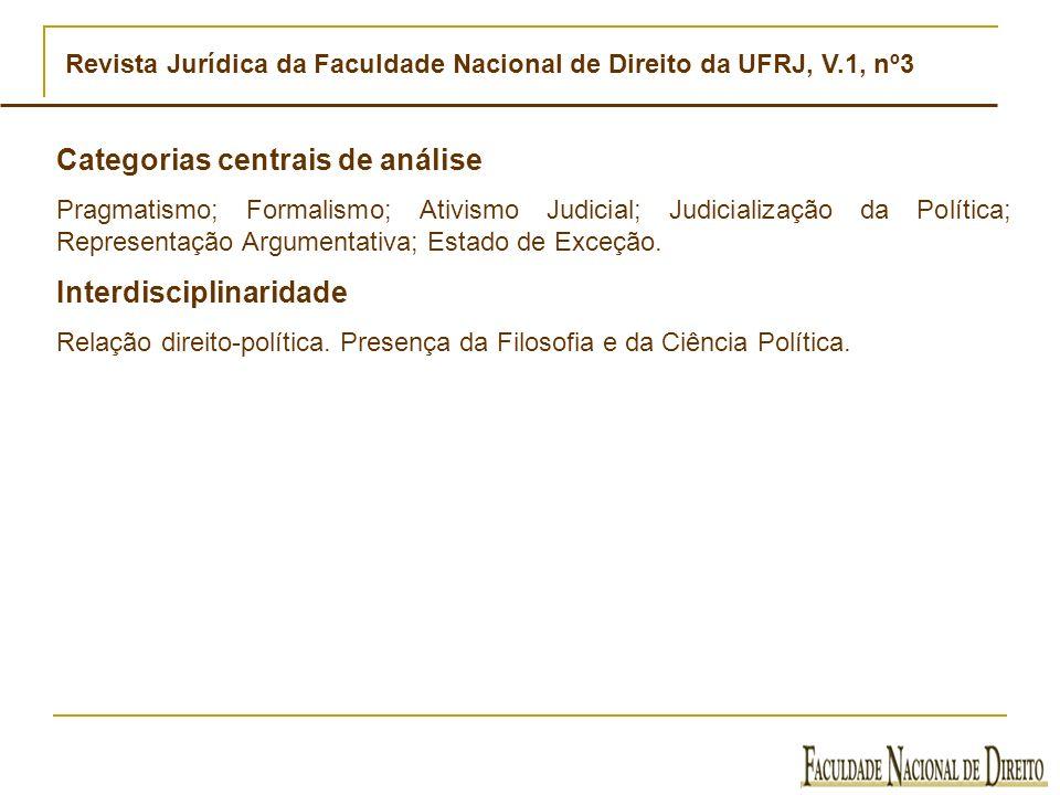 Revista Jurídica da Faculdade Nacional de Direito da UFRJ, V.1, nº3 Categorias centrais de análise Pragmatismo; Formalismo; Ativismo Judicial; Judicia