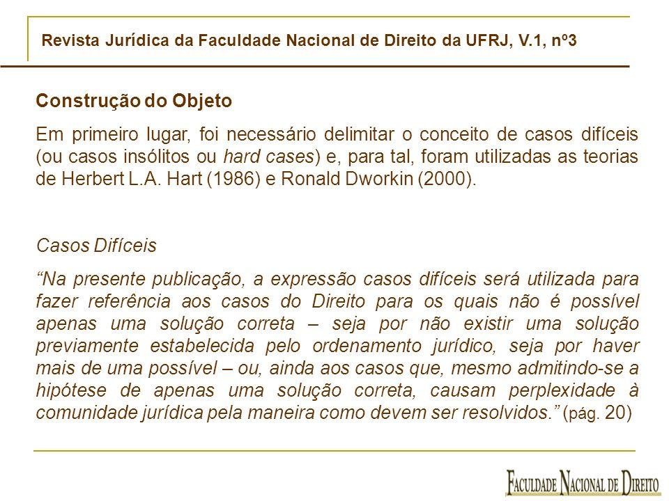 Revista Jurídica da Faculdade Nacional de Direito da UFRJ, V.1, nº3 Construção do objeto Em seguida, foi necessário escolher as decisões ou o conjunto de decisões do Supremo Tribunal Federal (STF) a serem analisadas.