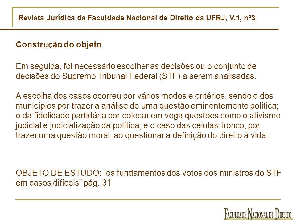 Revista Jurídica da Faculdade Nacional de Direito da UFRJ, V.1, nº3 Construção do objeto Em seguida, foi necessário escolher as decisões ou o conjunto