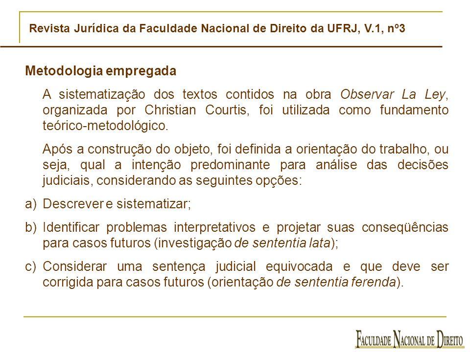 Revista Jurídica da Faculdade Nacional de Direito da UFRJ, V.1, nº3 Metodologia empregada A sistematização dos textos contidos na obra Observar La Ley