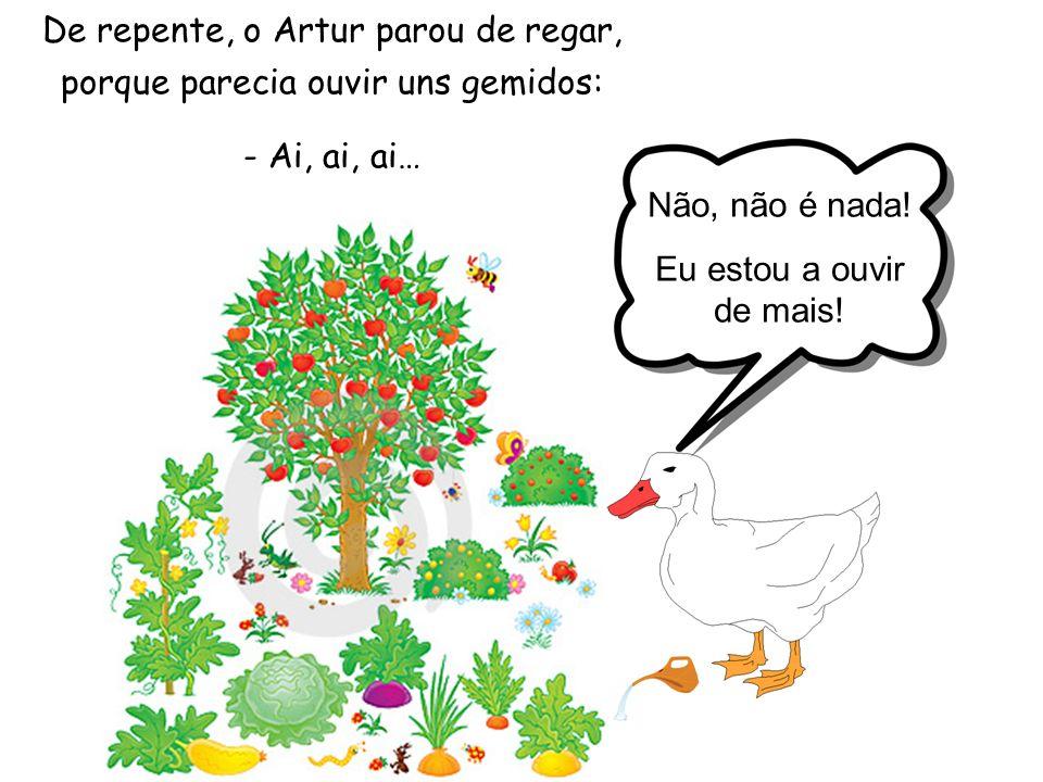 De repente, o Artur parou de regar, porque parecia ouvir uns gemidos: - Ai, ai, ai… Não, não é nada.