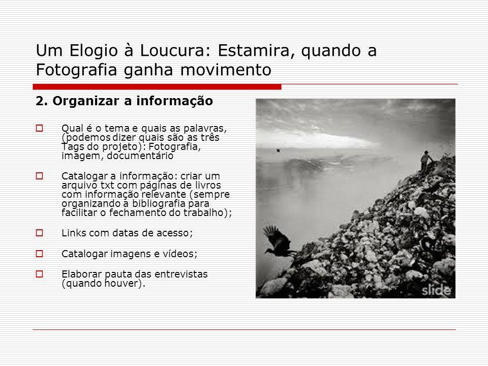 Um Elogio à Loucura: Estamira, quando a Fotografia ganha movimento 2. Organizar a informação Qual é o tema e quais as palavras, (podemos dizer quais s