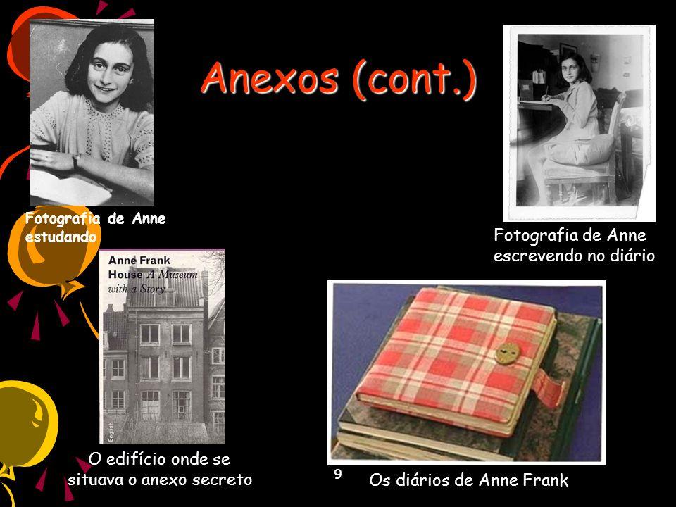 9 Anexos (cont.) Fotografia de Anne estudando Fotografia de Anne escrevendo no diário Os diários de Anne Frank O edifício onde se situava o anexo secr