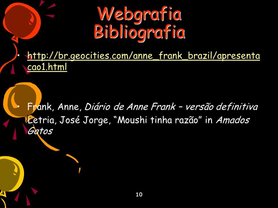 10 Webgrafia Bibliografia http://br.geocities.com/anne_frank_brazil/apresenta cao1.html Frank, Anne, Diário de Anne Frank – versão definitiva Letria, José Jorge, Moushi tinha razão in Amados Gatos