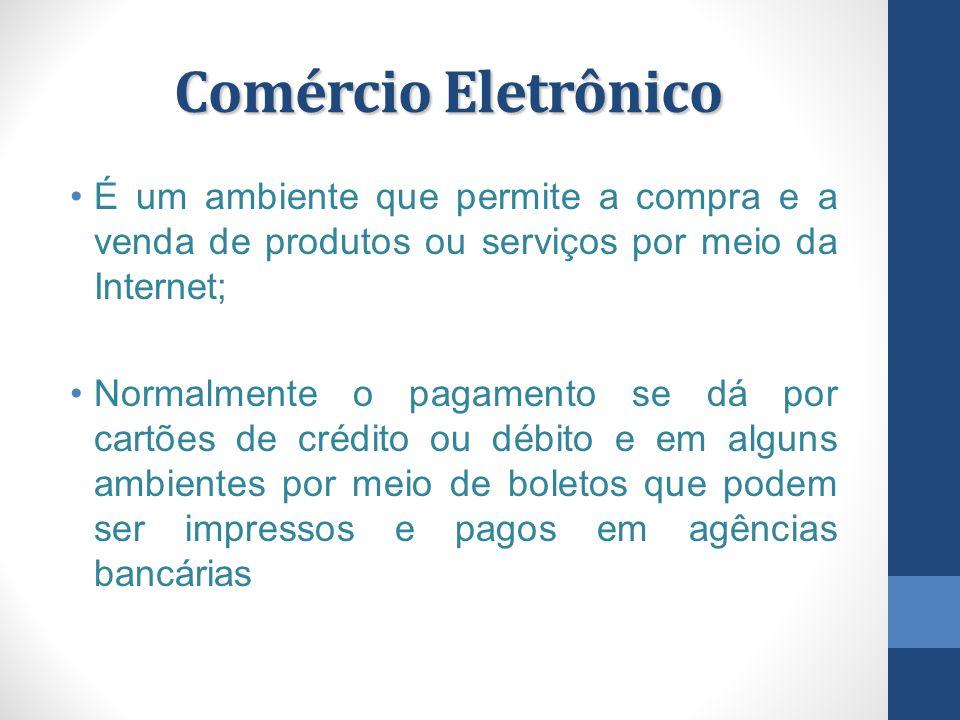 Comércio Eletrônico É um ambiente que permite a compra e a venda de produtos ou serviços por meio da Internet; Normalmente o pagamento se dá por cartõ