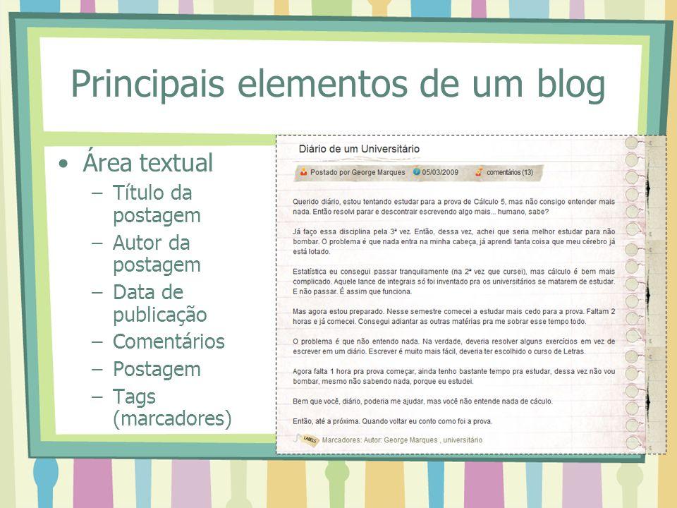 Principais elementos de um blog Área textual –Título da postagem –Autor da postagem –Data de publicação –Comentários –Postagem –Tags (marcadores)